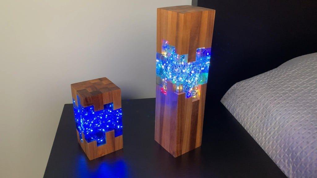 Светодиодный светильник из эпоксидной смолы и ореха