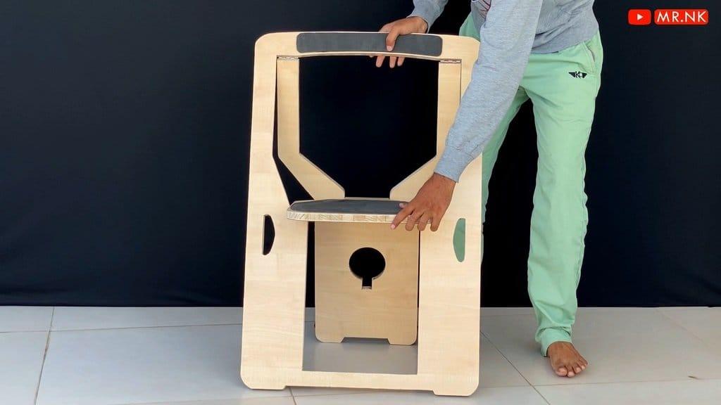 Ультра тонкое портативное кресло или складной стульчик из фанеры