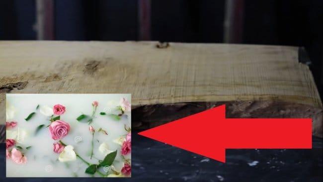 Стол из живых цветов и молочной эпоксидки