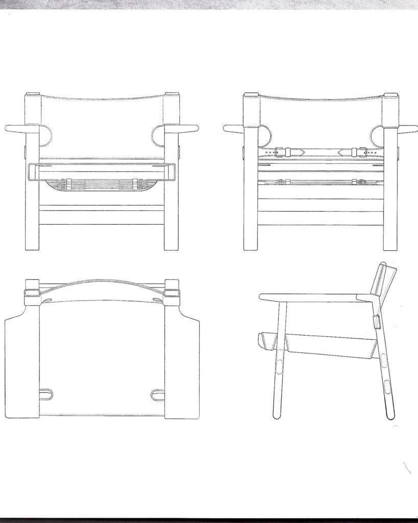 Фанерный стул с кожаной отделкой