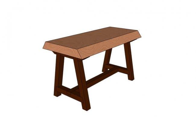 Журнальный столик в виде скамейки в деревенском стиле