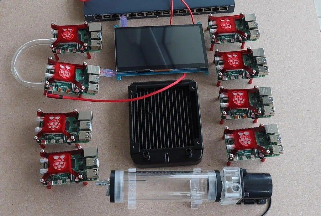 Кластер Raspberry Pi 4 с водяным охлаждением