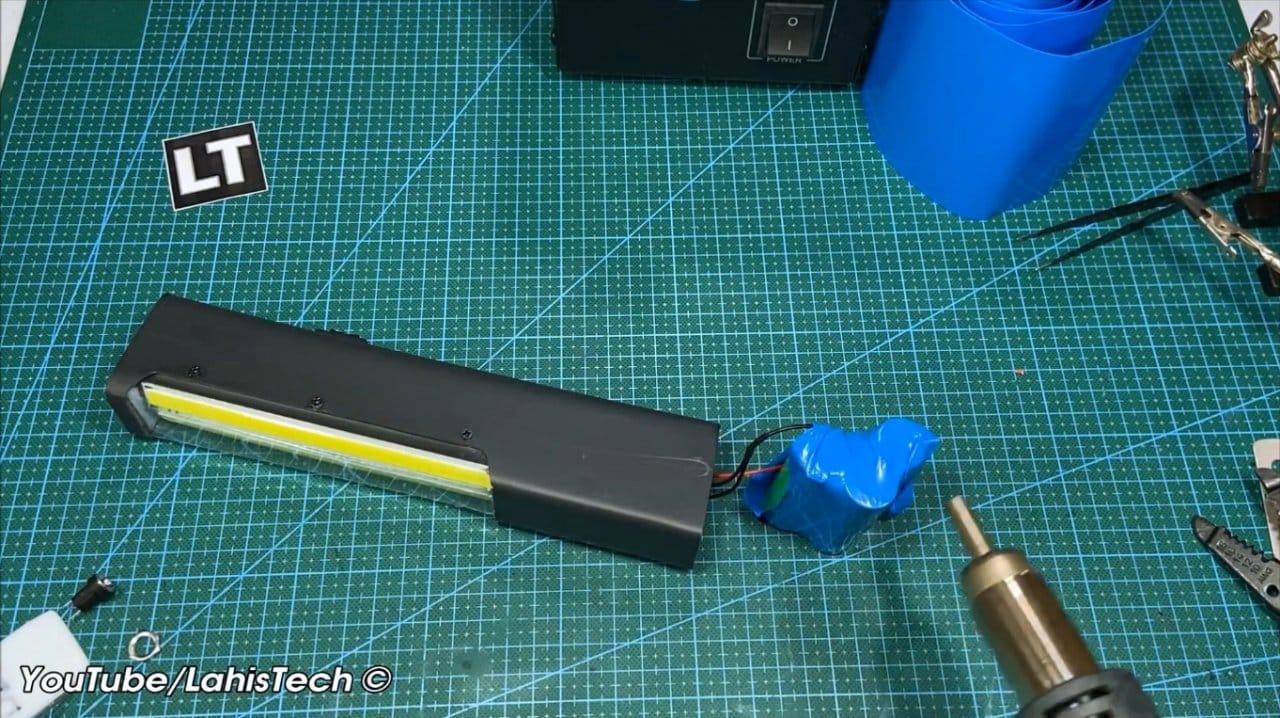 Как сделать аккумуляторный аварийный фонарь на COB модулях