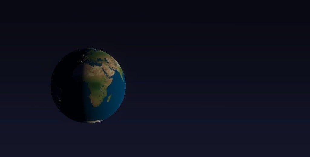 Глобус синхронизированный с виртуальным глобусом на экране ПК