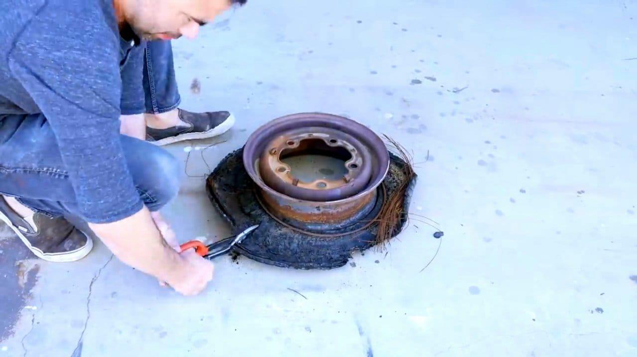 Как сделать очаг из колесных дисков