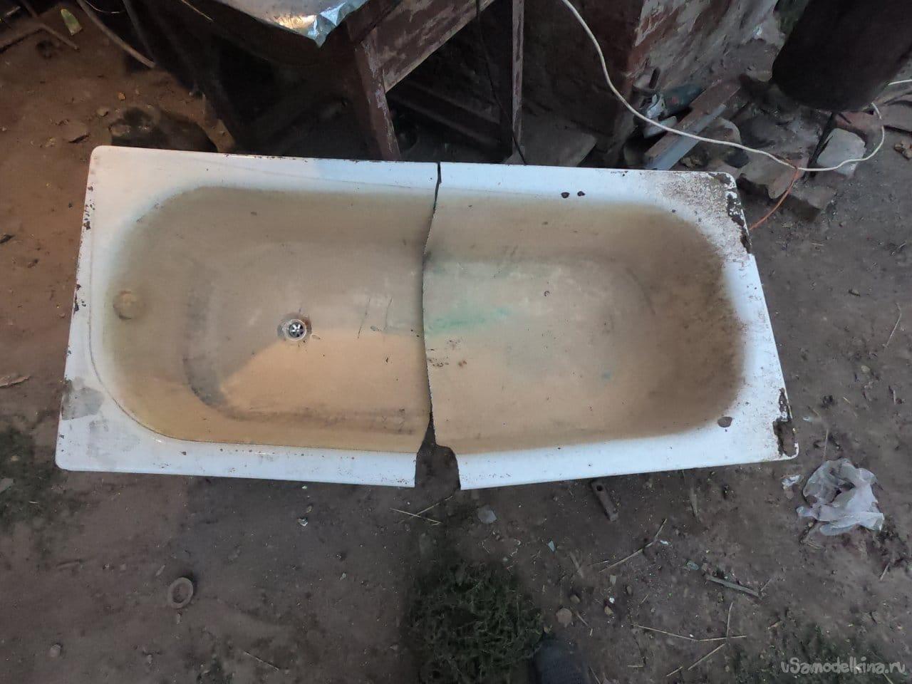 Буржуйка из стальной ванны