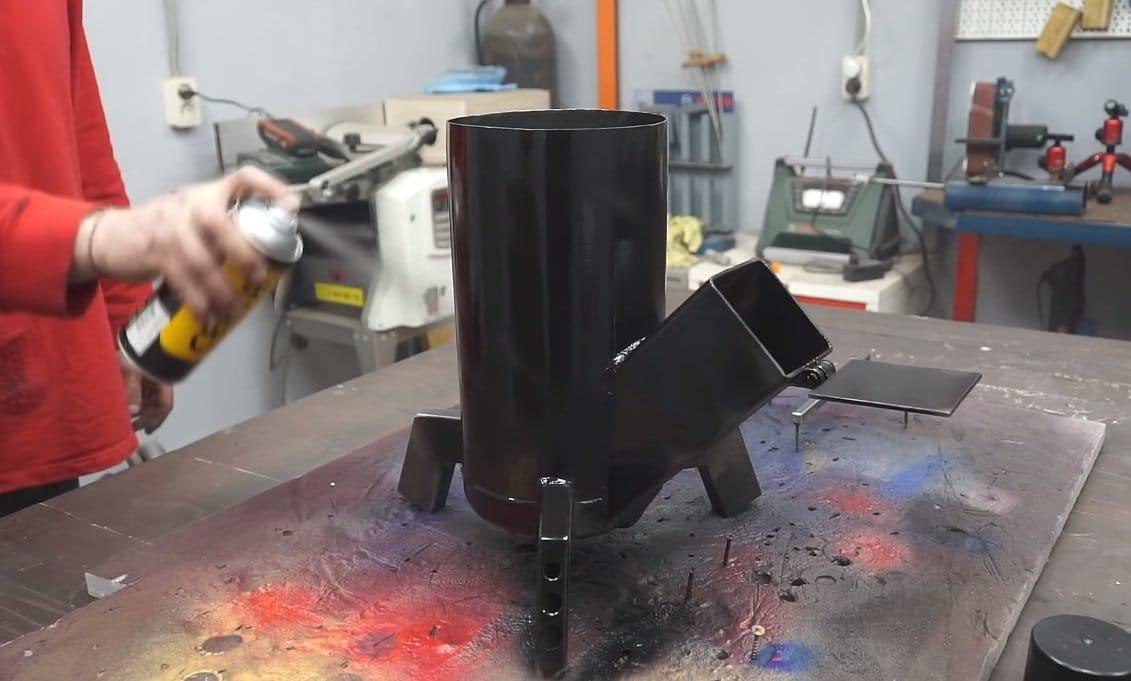 Печь ракета из огнетушителя