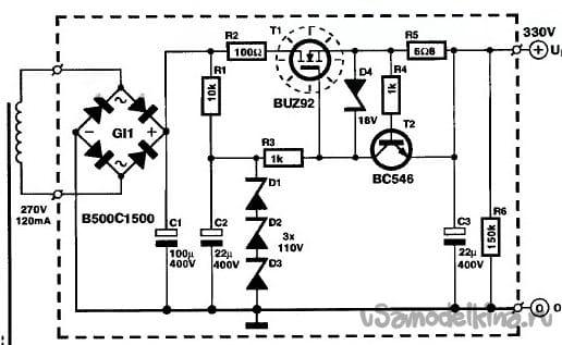 Высоковольтный выпрямитель и стабилизатор для лампового УМЗЧ