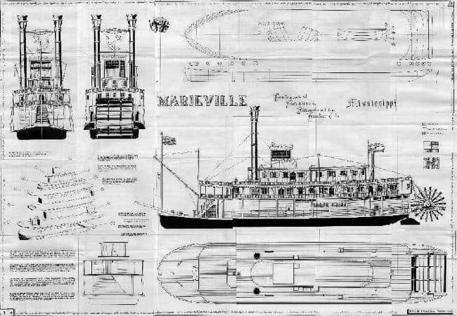Модель речного парохода из пенопласта