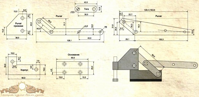 Запоры для окон в теплице (аналог рычажных струбцин) + чертежи