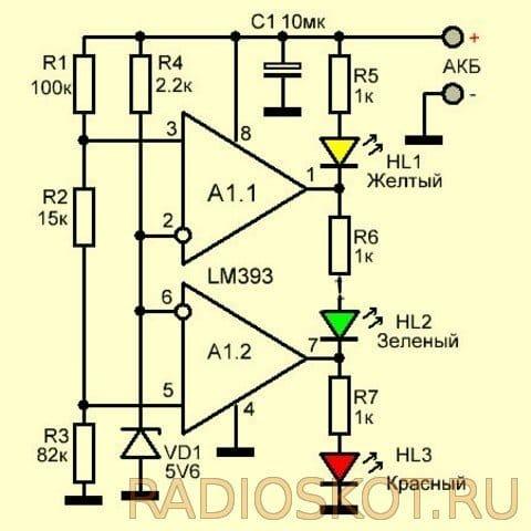 Светодиодный индикатор напряжения аккумулятора