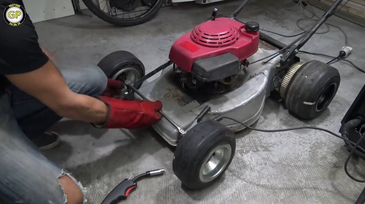 Kart for a child from a self-propelled lawn mower