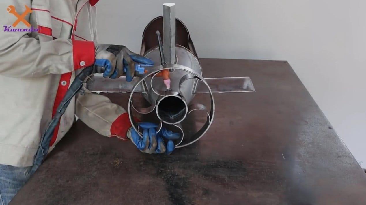 Unique brazier in the form of a submarine