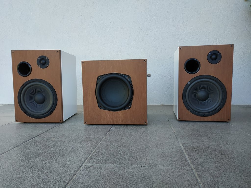 'Musical trio' 'two speakers and a subwoofer