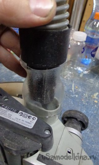 Chip removal on a vacuum cleaner for an electric planer from PET bottles