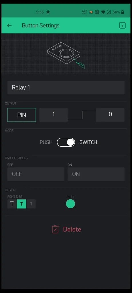Controlling the block of switches and sockets using a smartphone