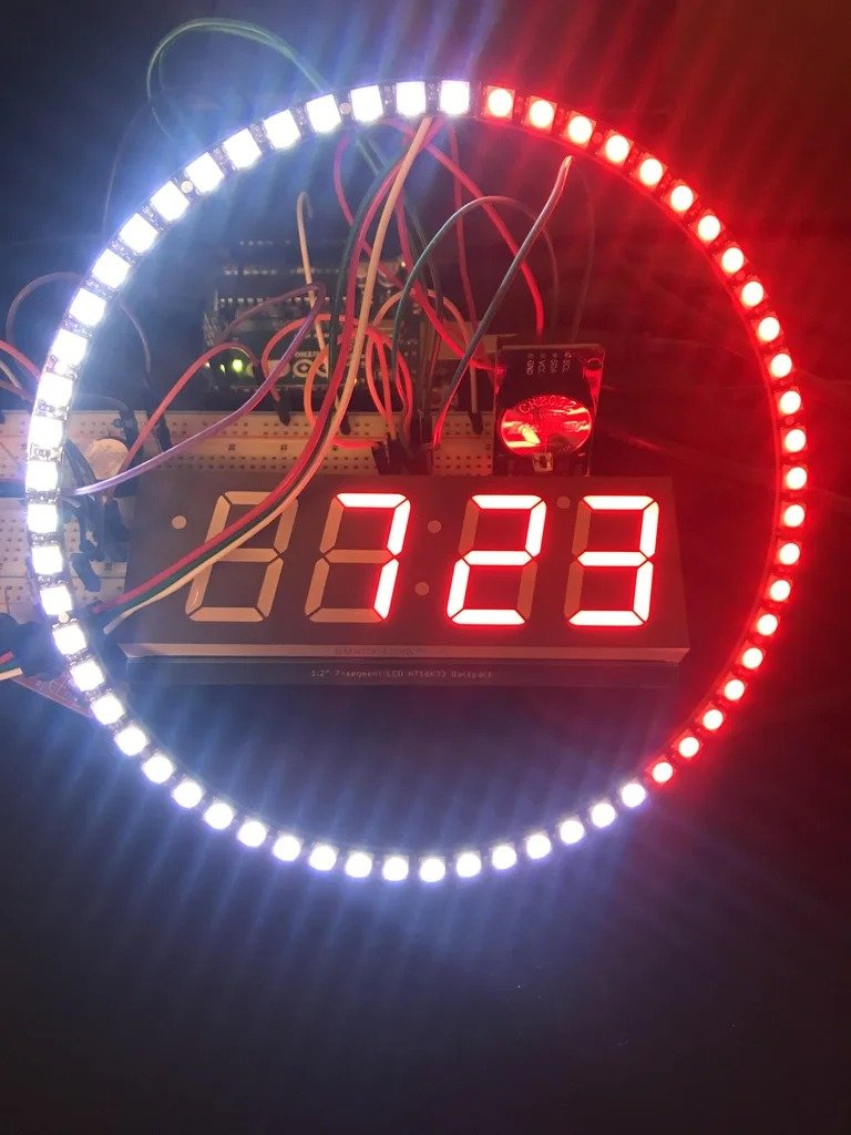 7-segment NeoPixel clock with a countdown timer and remote control