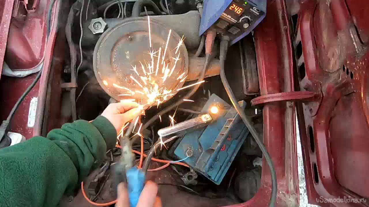 Did the battery explode while welding the car? Tests it
