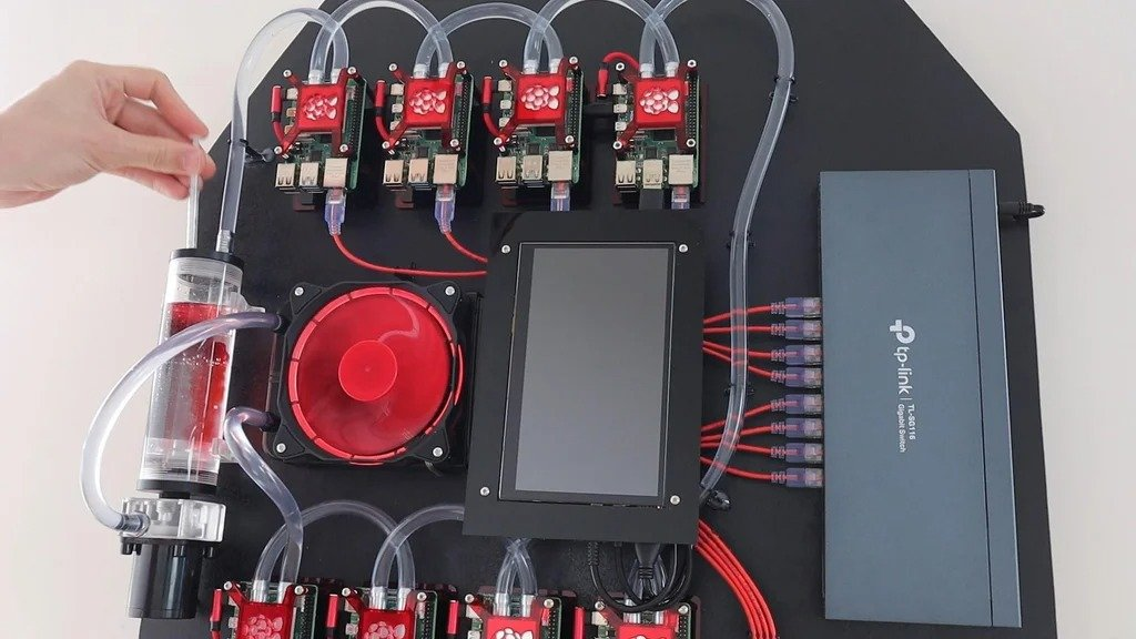 Raspberry Pi 4 water-cooled cluster