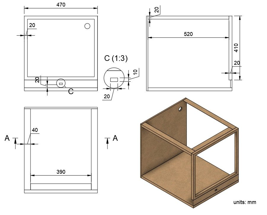 Cabinet with hood, for 3D printer
