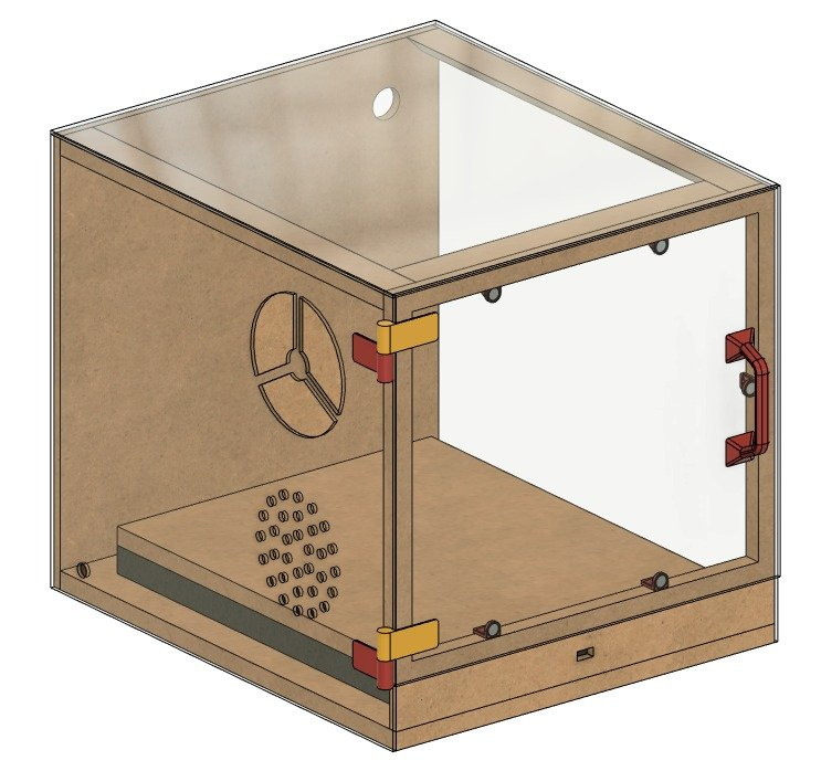 Cupboard with hood, for a 3D printer