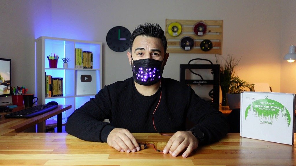 Face mask with LED animation
