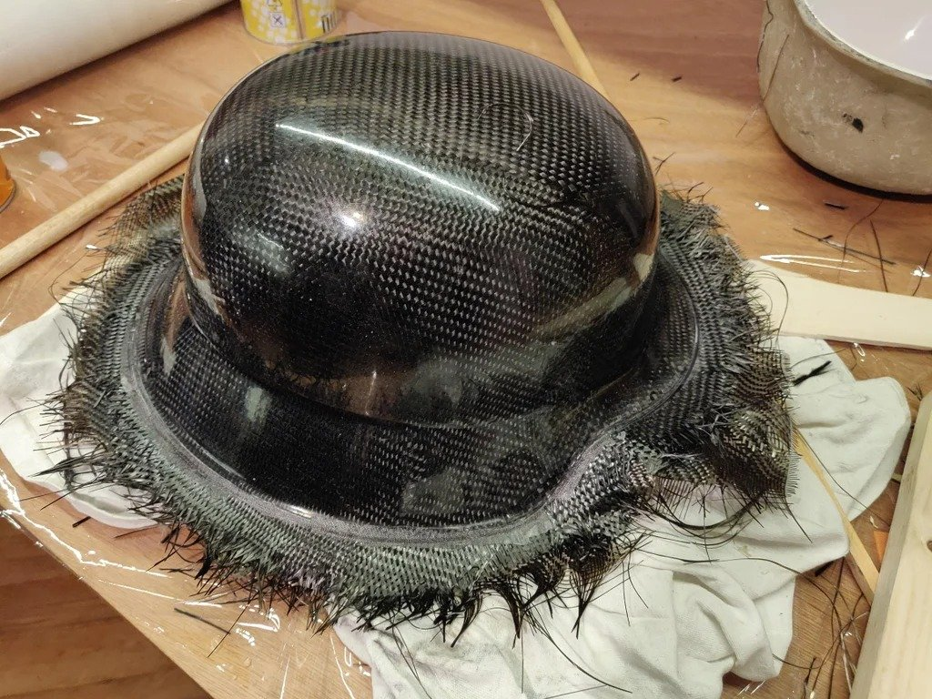 A copy of a military helmet made of composite material