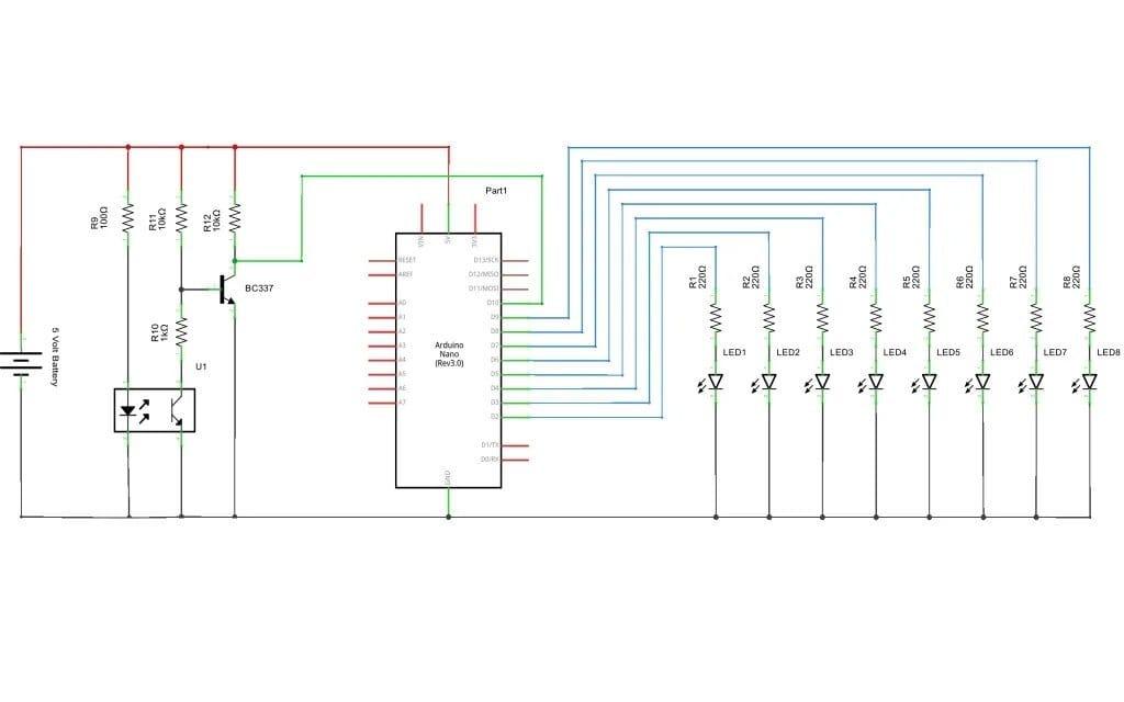 Светодиодная матрица, при вращении создающая иллюзию часов, текста, картинки,