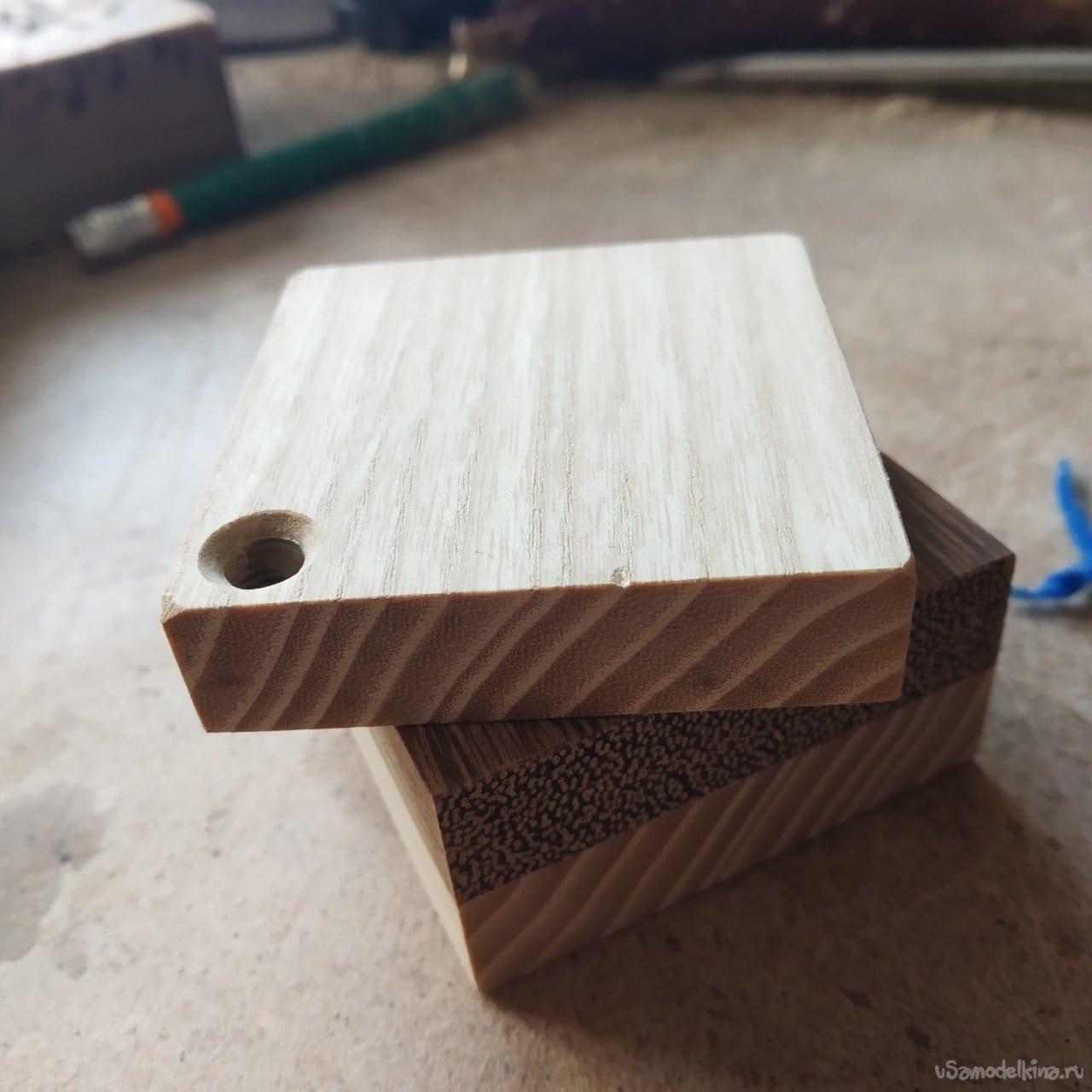 Box made of wood (ash and sucupira)