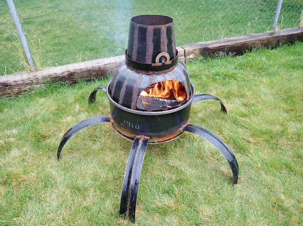 Metal barrel hearth