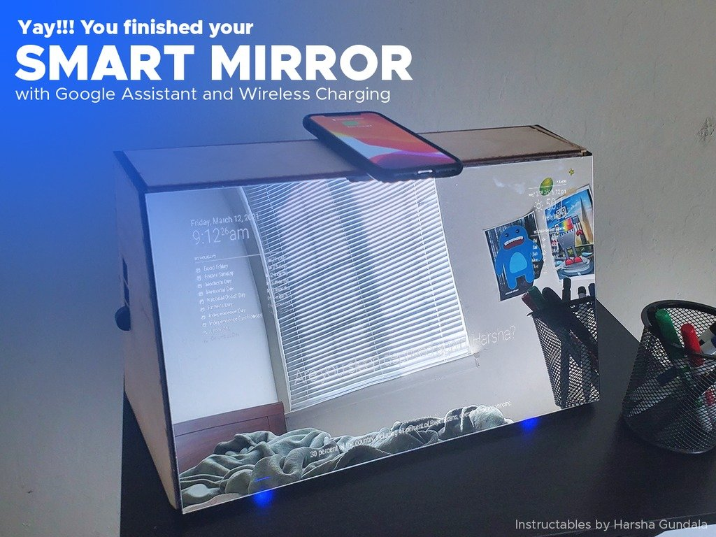 'Smart mirror' with Google Assistant and wireless charging