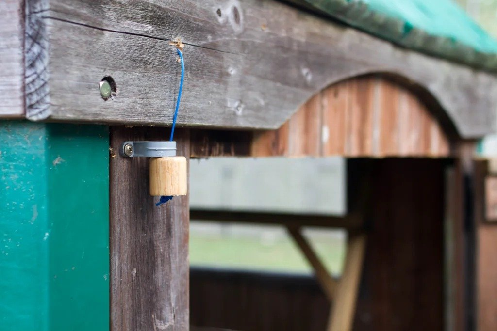 Chicken feeder with feed level indicator