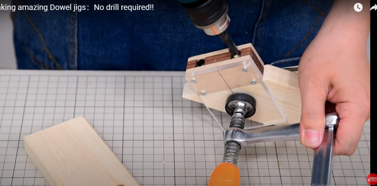 Template for drilling holes for dowels at corner joining of parts