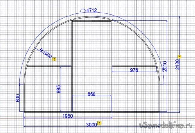 Парник из поликарбоната размером 3х6х2,1м
