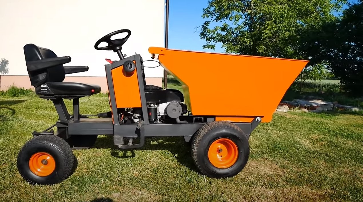 Dump truck with 17 HP engine.