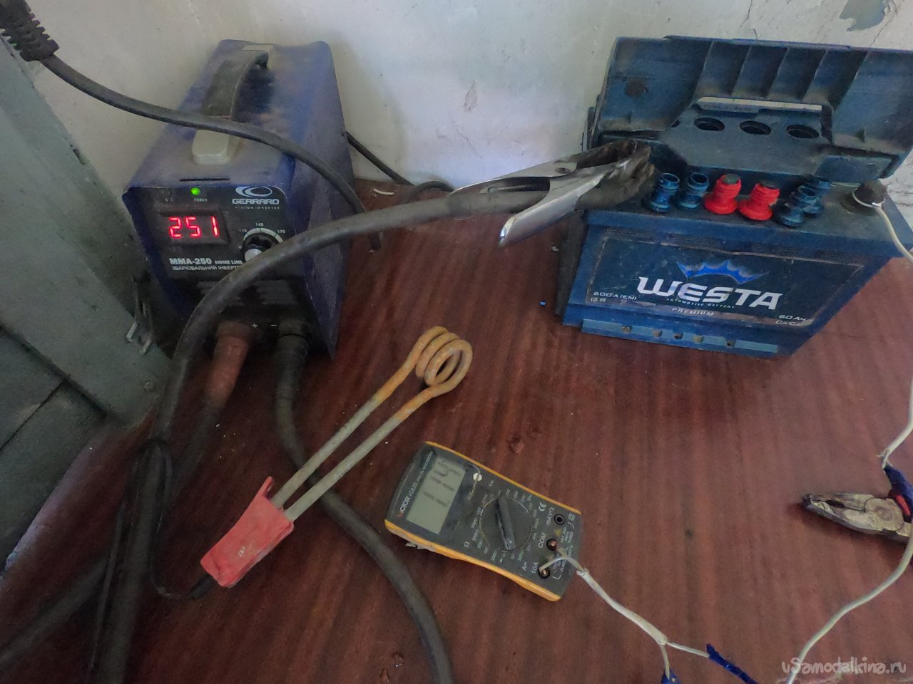 We charge the battery from the welder and the boiler