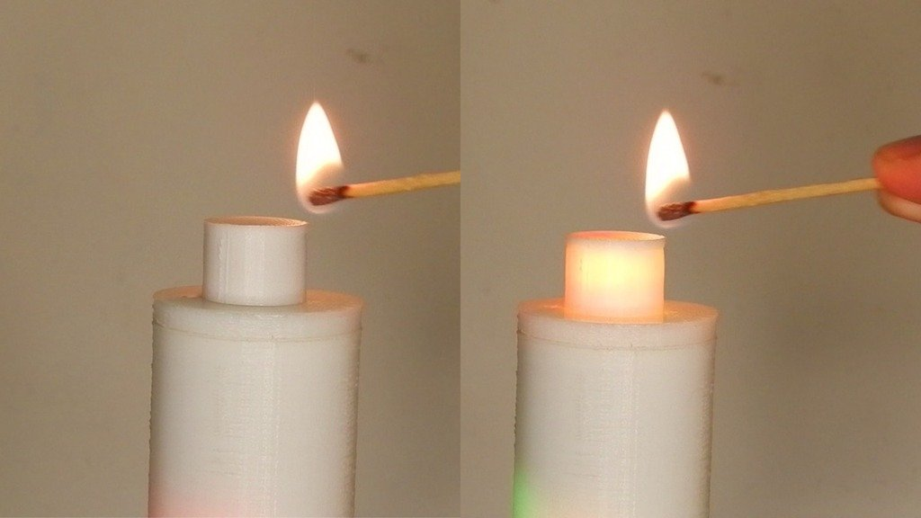 LED candle lit from a match