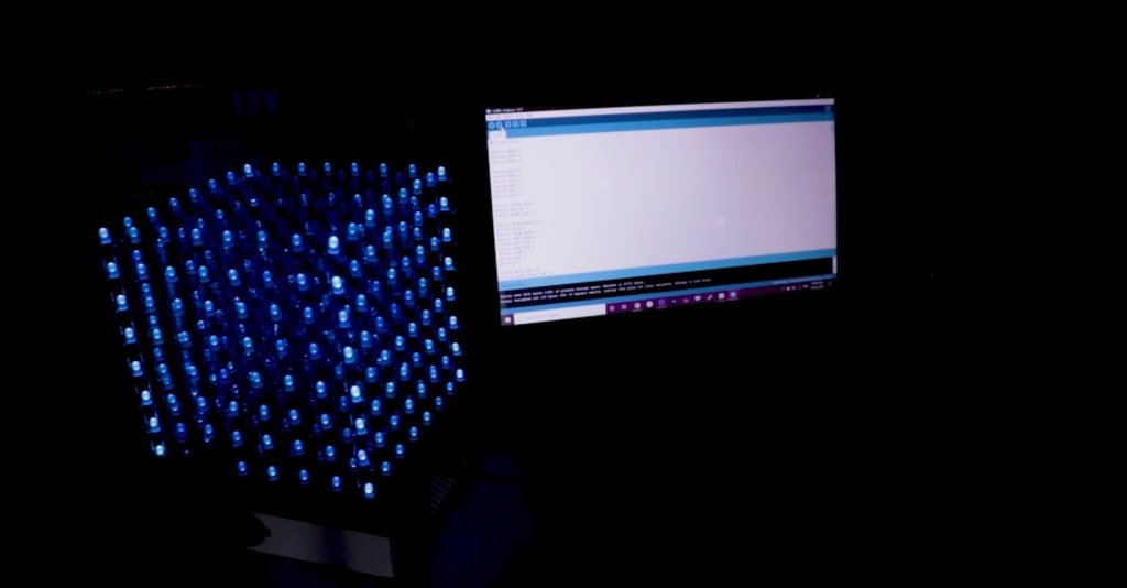 Assembling an LED cube with visual effects