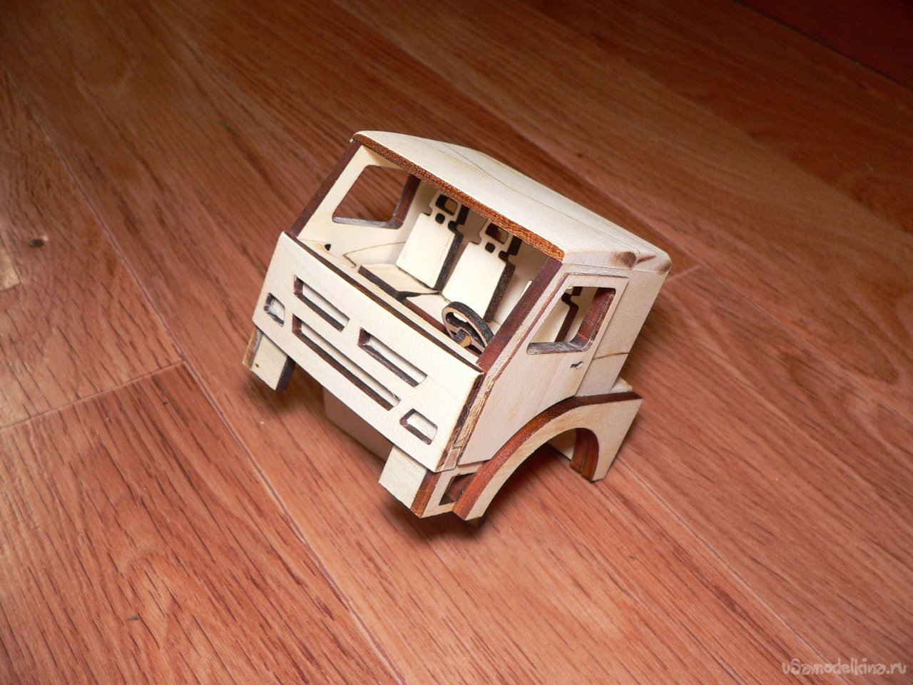 Toy timber timber truck made of wood
