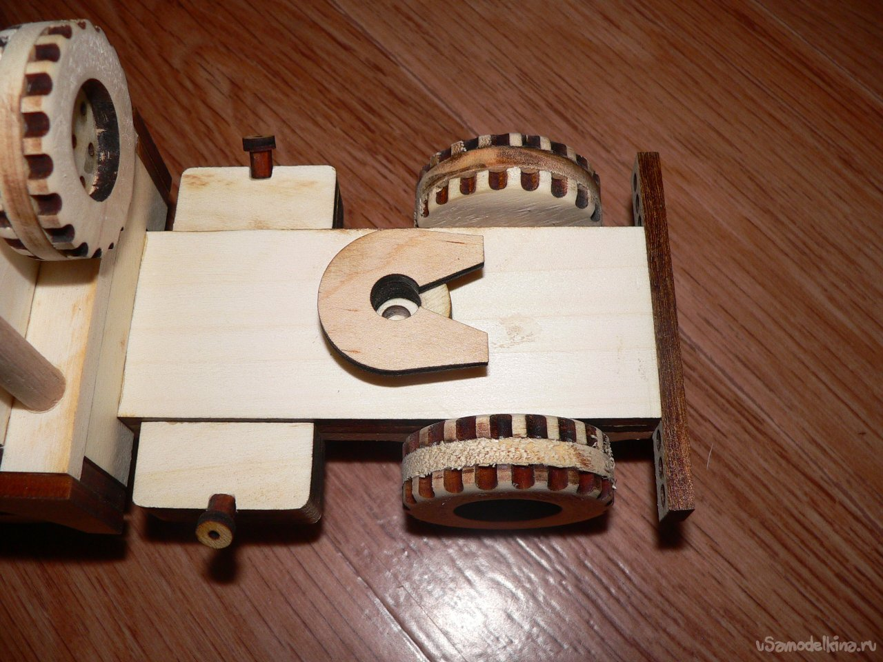 Toy timber truck made of wood