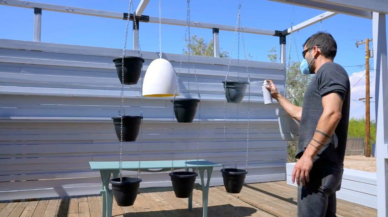 Making simple hanging gardens (hanging system for flower pots)
