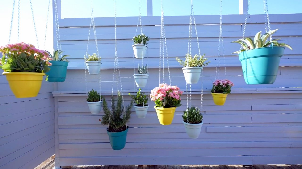 Делаем простые висячие сады (подвесная система для цветочных горшков)