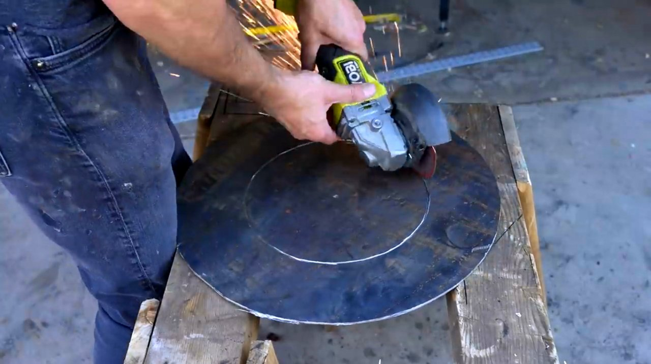 How to make a hearth out of wheel rims