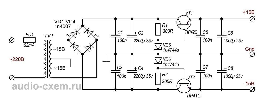 Stabilized preamplifier power supply & plusmn; 15V