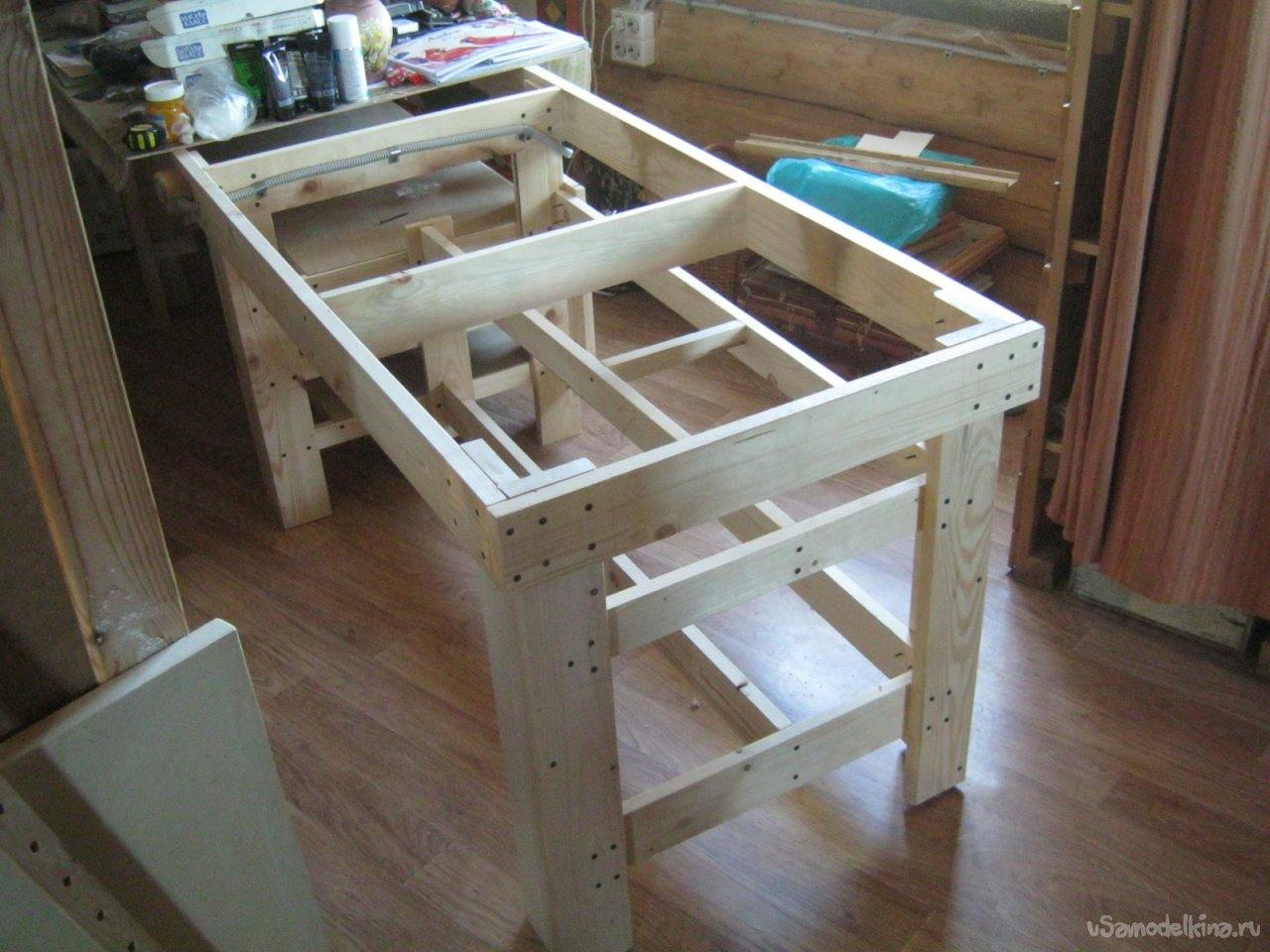A simple utility table for an artist's home studio