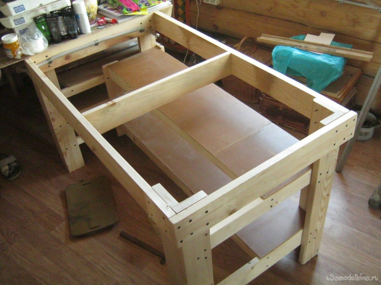A simple utilitarian table for an artist's home studio